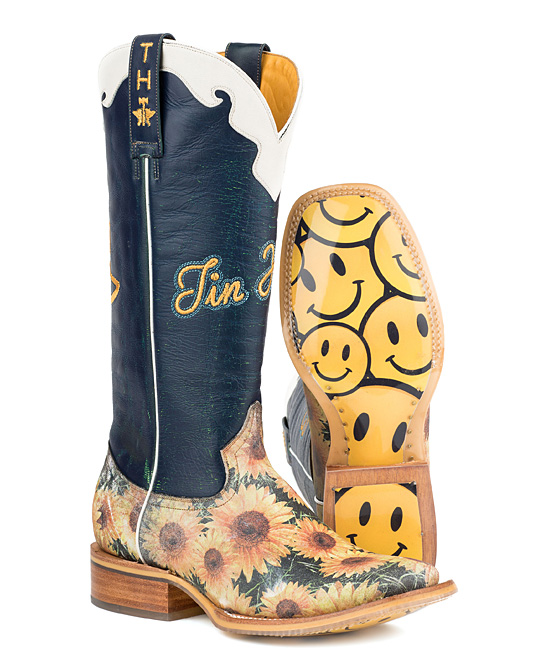 8a4a485fdd9 Tin Haul Navy & Yellow Sunflower Leather Cowboy Boot