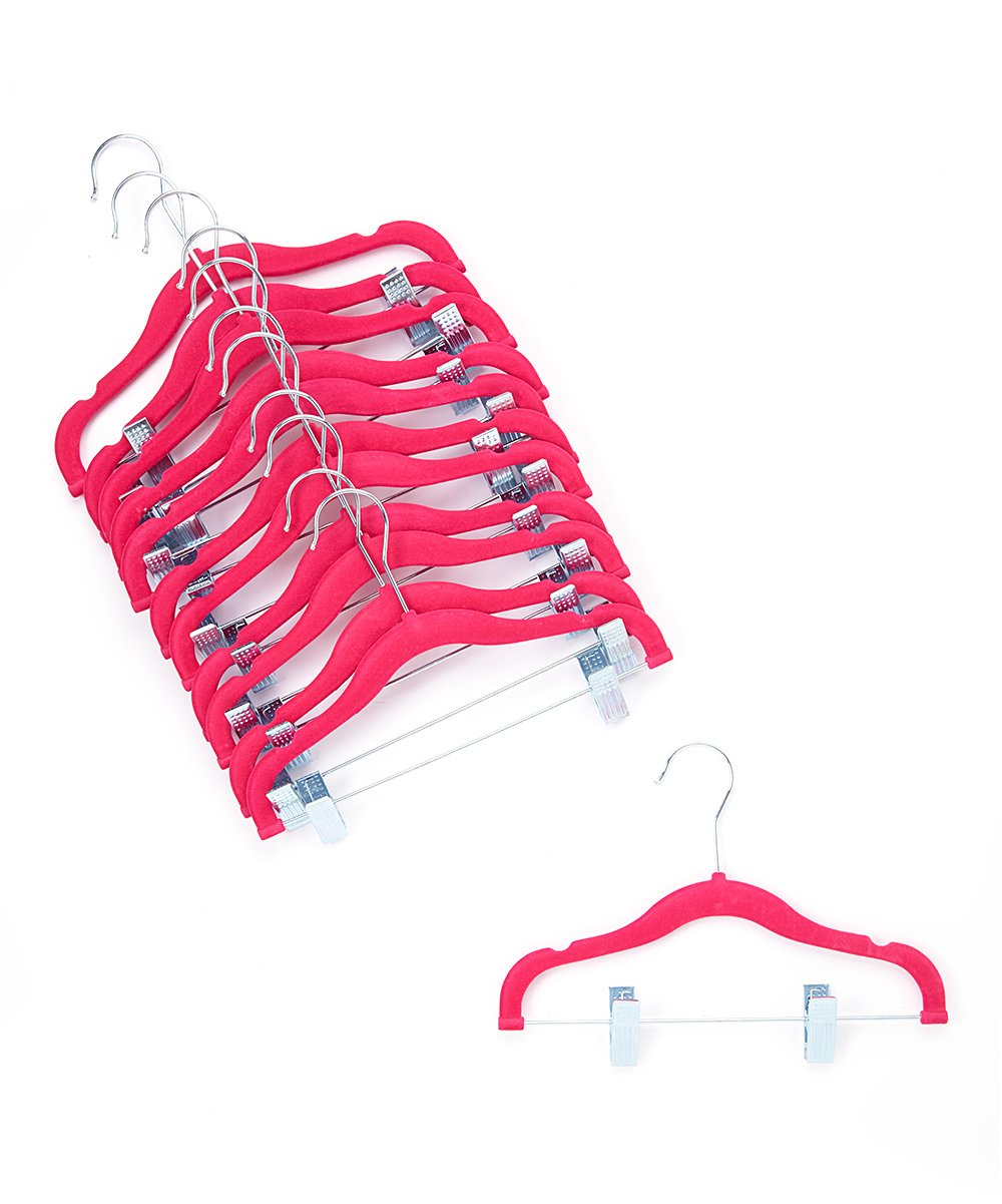 Home It  Hangers - - Pink Velvet Metal Clip Hangers - Set of 12 Pink Velvet Metal Clip Hangers - Set of 12. Designed just for kids' clothes, these hangers feature soft, nonslip velvet and metal clips for versatile clothing storage. Includes 12 hangers11'' W x 7.5'' HPlasticImported