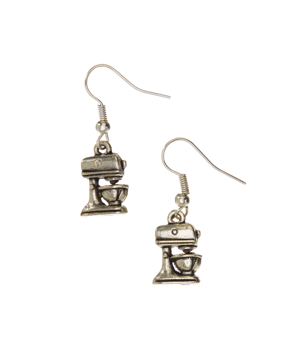 Silvertone Kitchen Mixer Drop Earrings Silvertone Kitchen Mixer Drop Earrings. Show off your passion for cooking with these silvertone mixer earrings. 1.25'' LSilvertone zinc alloyImported
