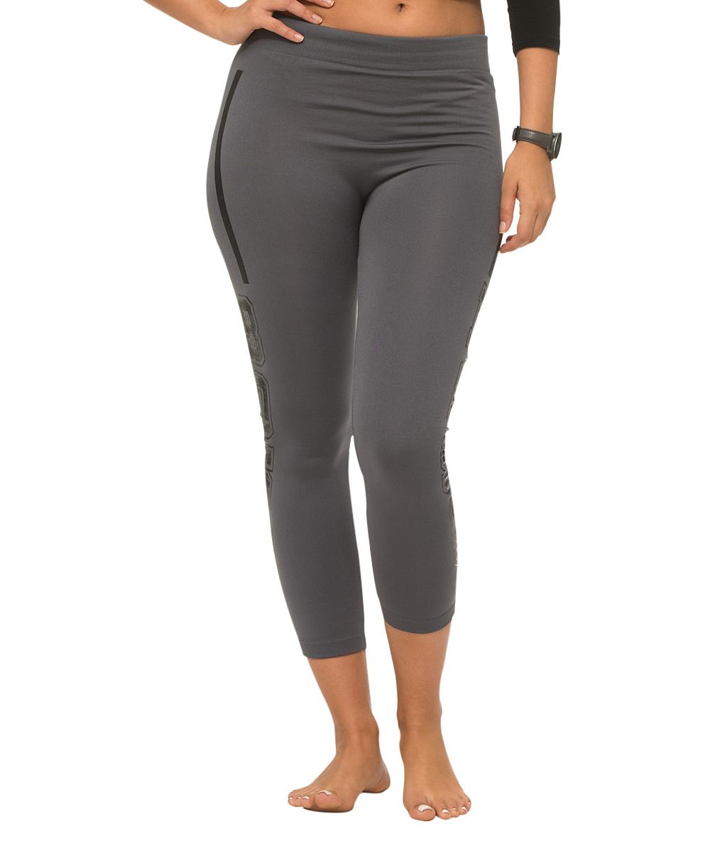 a6f32f92100343 love this product Gray & Black Stripe 'Boss' Fleece-Lined Leggings