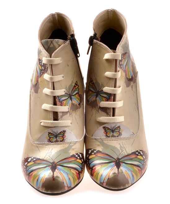 047b0a6d7d81 Goby Beige Paint Splatter Butterfly Wedge Bootie - Women