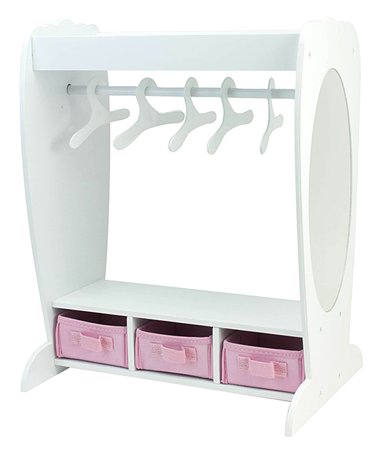 Sophia's  Doll Accessories  - Clothing Rack Clothing Rack. Little ones love enjoying make-believe play with petite doll pals, and this clothing rack will have them fully prepared to organize their doll's wardrobe. Includes armoire and three hangersScaled for 18'' doll16.5'' W x 21'' H x 9'' DWood / cottonRecommended for ages 5 years and upImported