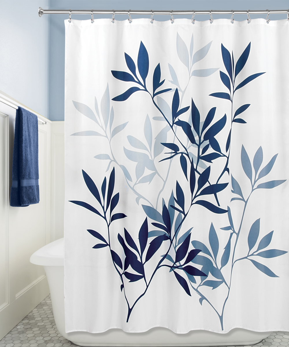 Love This Product Navy Slate Blue Leaves Shower Curtain
