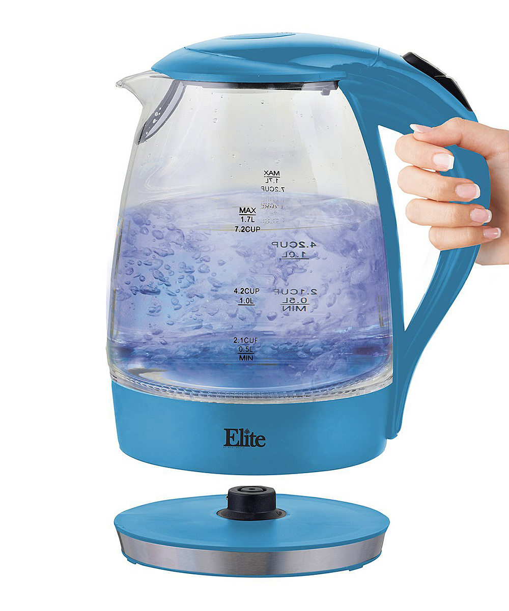 Elite  Electric Kettles  - 1.7-L Blue Cordless Water Kettle 1.7-L Blue Cordless Water Kettle. Seamlessly blending elegance and functionality, this electric glass kettle makes a beautiful addition to any countertop while boiling water efficiently. 8'' W x 9.75'' H x 4.8'' DHolds 57.48 oz.Glass / plasticRemovable heating baseHand washImported