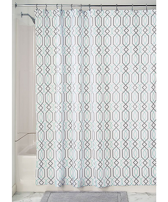 IDesign Mint Gray Lattice Shower Curtain