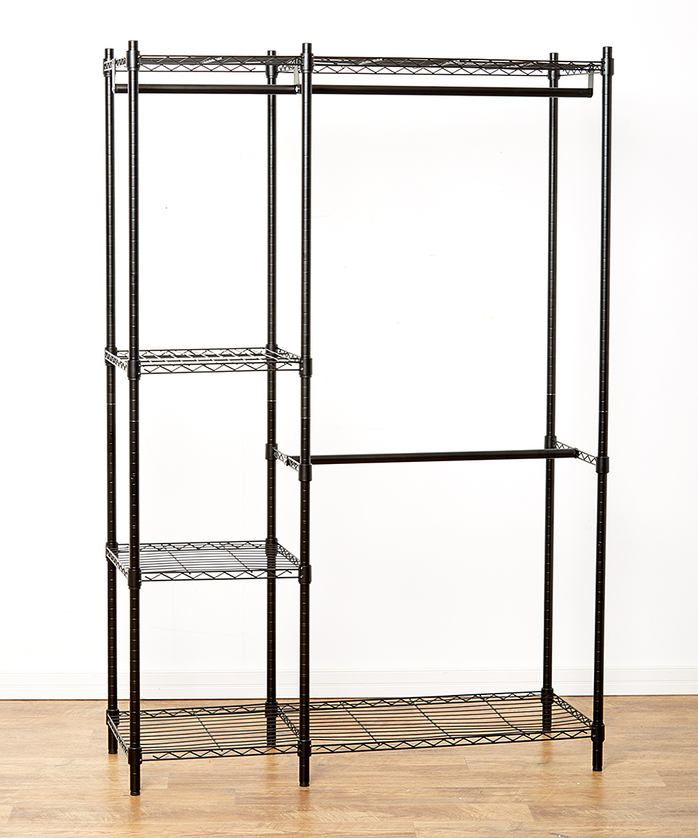 Big Shelving Garment Rack Big Shelving Garment Rack. Organize and create clothing space with this durable welded-wire rack that includes hanging rods, support hooks and four casters for easy moving. This rack is easy to assemble and requires no tools. Includes wire rack with a hanging rod, four support hooks and four castersWeight capacity: 350 lbs.48'' W x 75'' H x 18'' DMetalAssembly requiredImported