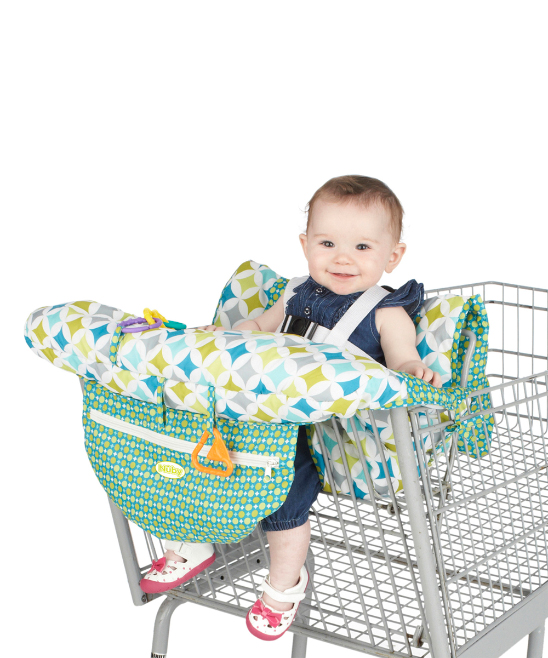 Green Shopping Cart & High Chair Cover Green Shopping Cart & High Chair Cover. This soft cotton cover provides a comfy cushion for Baby whether at the table or while you're grocery shopping. A storage pocket and hanging choices offer extra practical elements. 100% cottonMachine washImported