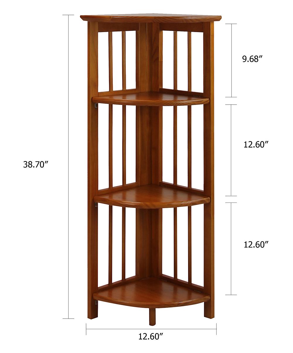 Honey Oak Four Tier Corner Folding Bookcase