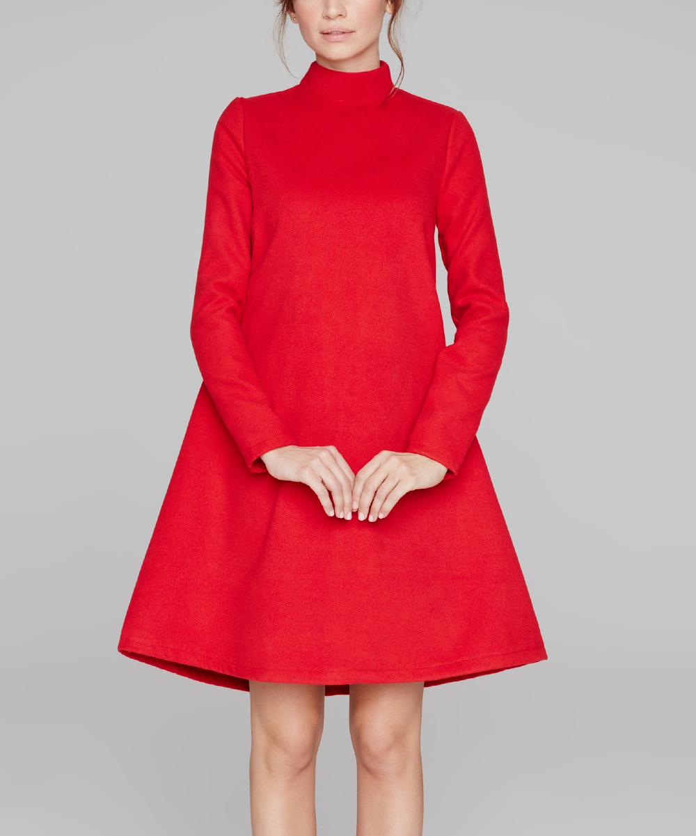 Peperuna Red Wool Blend A Line Dress Women Zulily