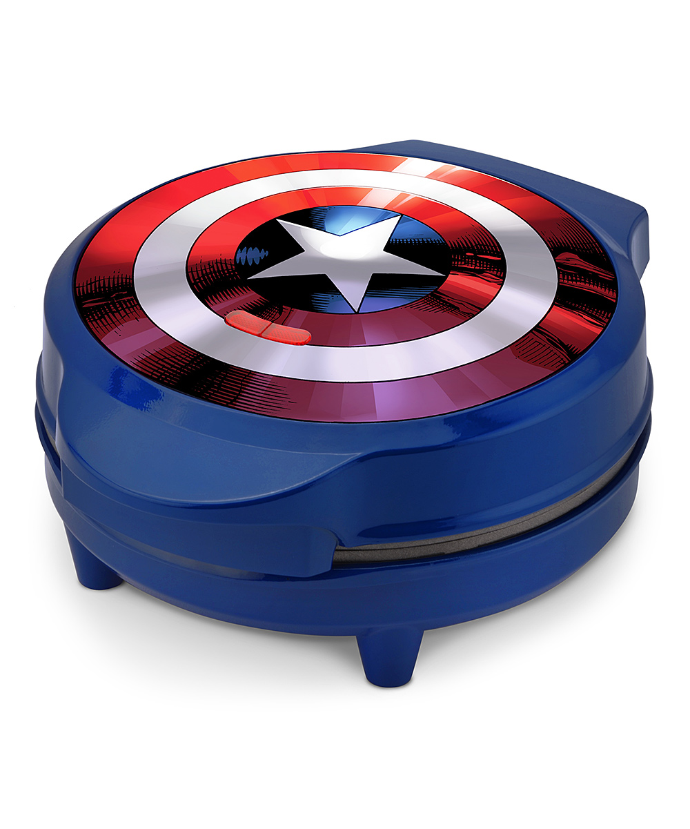 Select Brands  Waffle Makers  - Captain America Shield Waffle Maker Captain America Shield Waffle Maker. Breakfast will be a hit with this Captain America waffle iron. Youngsters will want to join in on the cooking process in all its glory. 9.1'' W x 5.2'' H x 10.8'' DAluminum/ plasticImported