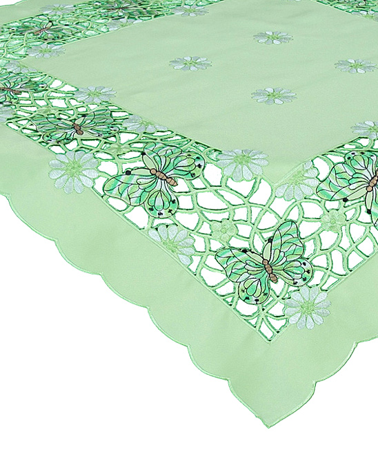 Xia Home Fashions  Tablecloths Green - Emerald Mariposa Embroidered Cutwork Tablecloth