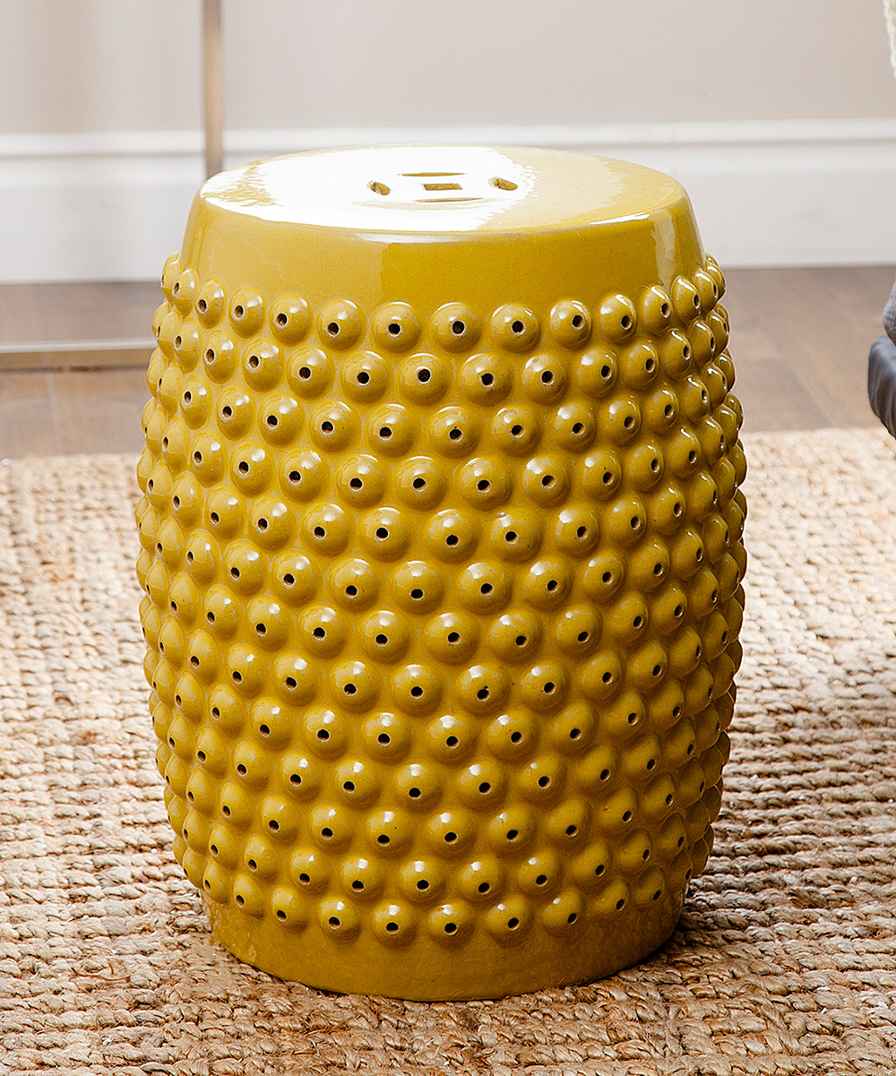 Yellow Stud Sophia Ceramic Garden Stool Alternate Image 2