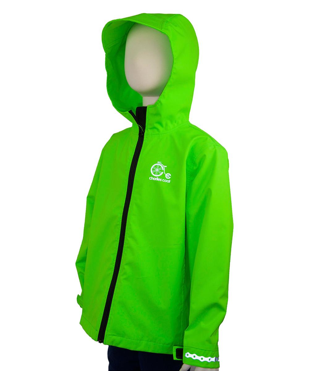 9df9f668f Charlies Coat Neon Green Reflective Bike Waterproof Jacket - Kids ...