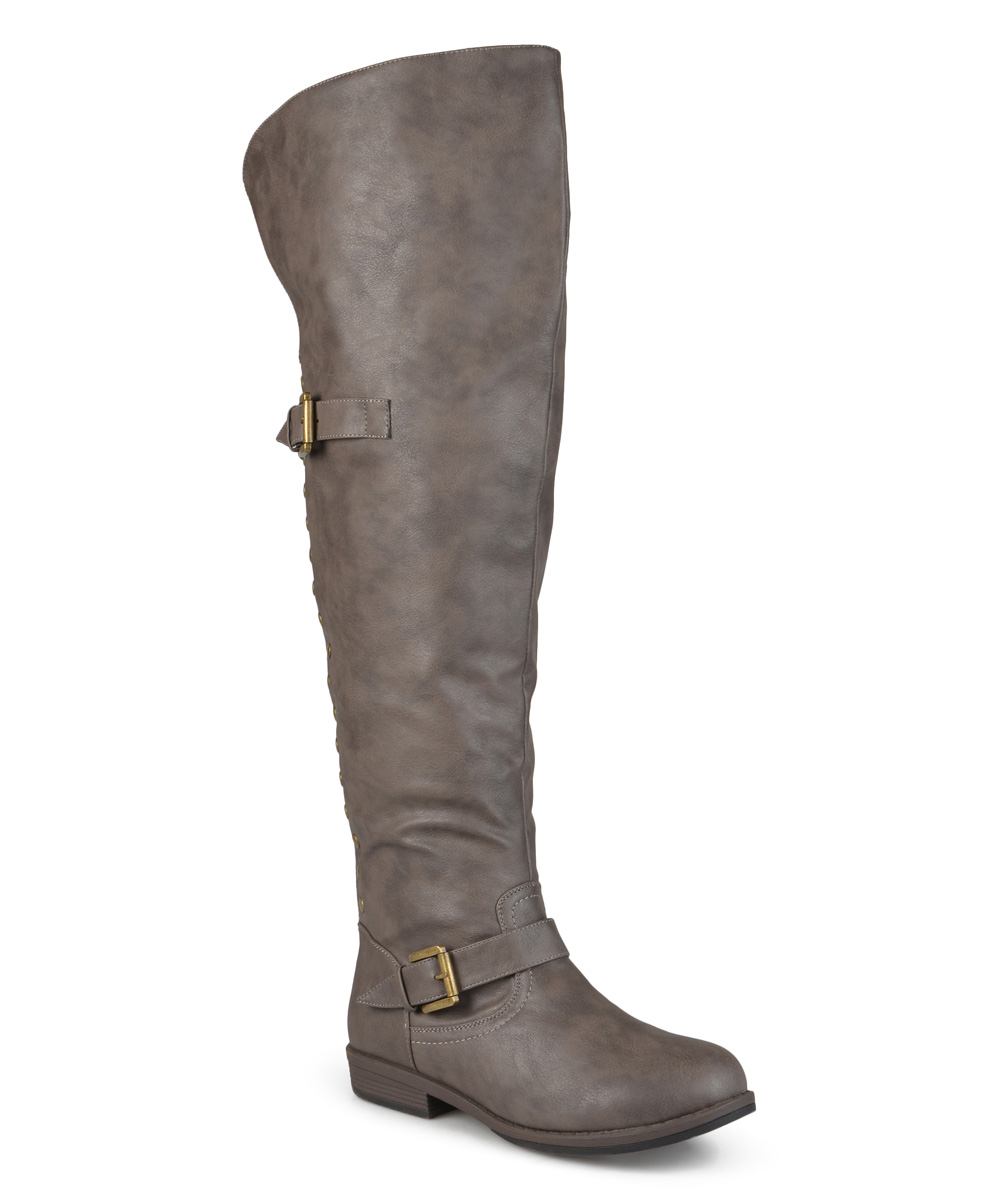 b76f68fa280 Brinley Co. Taupe Sugar Wide-Calf Over-the-Knee Boot - Women