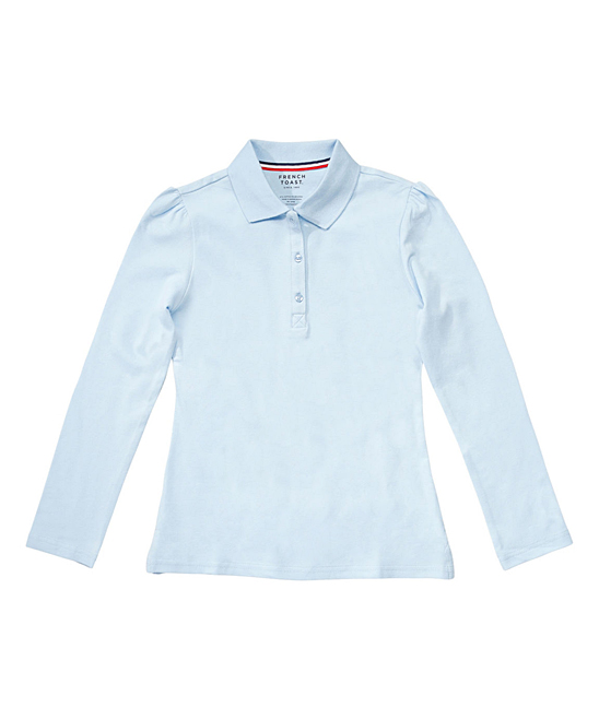 8c026391f French Toast Light Blue Stretch Piqué Long-Sleeve Polo - Girls | Zulily