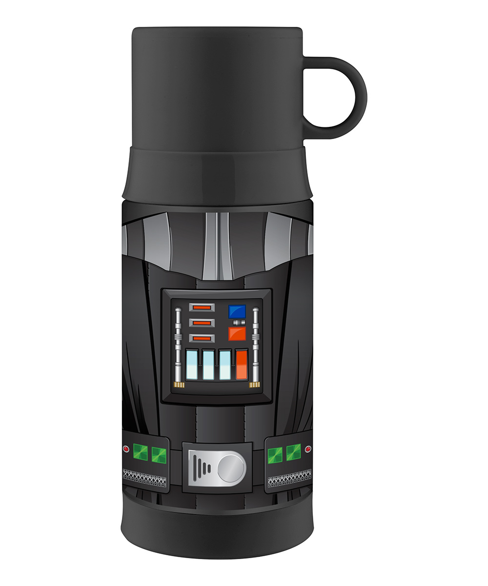 Thermos  Tumblers  - Star Wars Darth Vader Insulated 12-Oz. Thermos Star Wars Darth Vader Insulated 12-Oz. Thermos. This handy thermos combines entertainment-loving panache with travel-ready convenience thanks to heat-trapping stainless steel and an adventurous graphic. Pour your toasty beverage into the attached-handle lid to enjoy a cupful of goodness. Includes thermos and lidHolds 12 oz.Stainless steel / plasticHand washImported