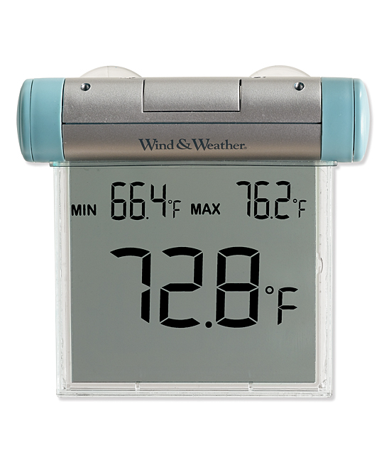 Easy-To-Read Weather-Resistant Outdoor Digital Window Thermometer Easy-To-Read Weather-Resistant Outdoor Digital Window Thermometer. Become more aware of the world around you with this digital thermometer. It mounts in a window and keeps tabs on the outdoor temperature, and is built to be weather-resistant and easy to read. Requires one CR2032 battery (included)Digital facePlasticImported