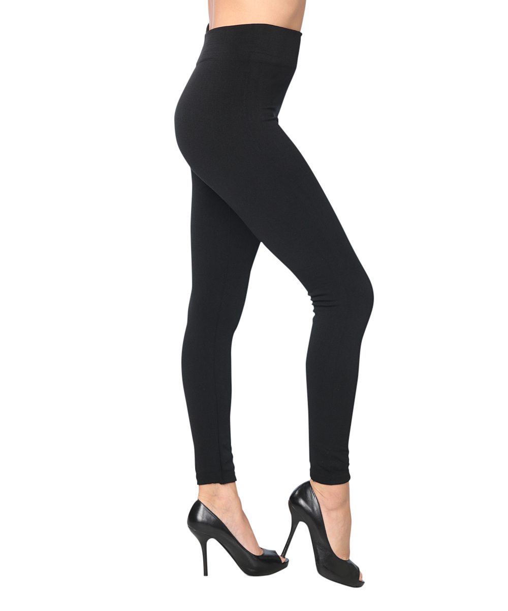 0780d2e2291643 ... Womens BLACK Black Opaque Fleece-Lined Footless Tights - Alternate  Image 2
