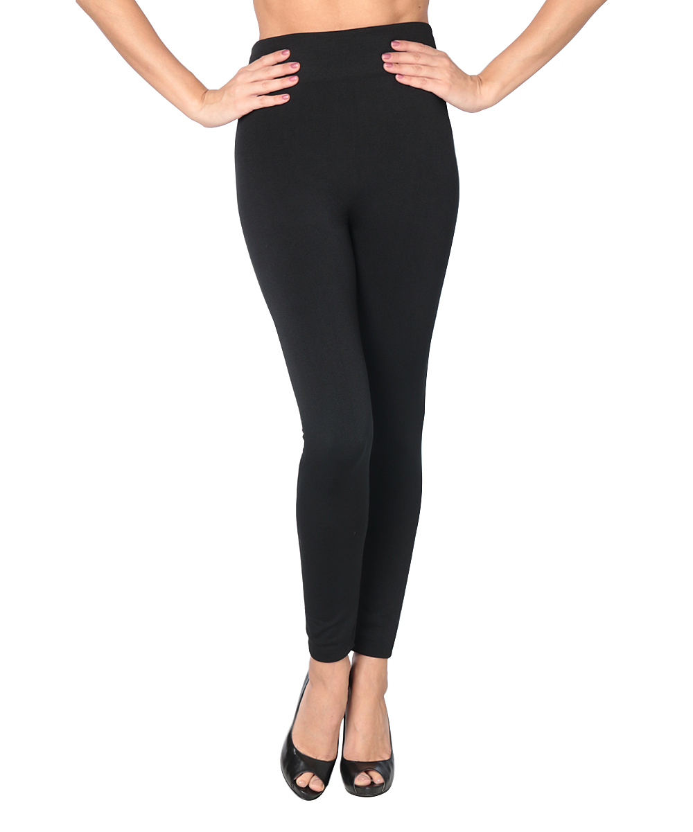 af1402ac5a772d Joan Vass Black Opaque Fleece-Lined Footless Tights - Women | Zulily