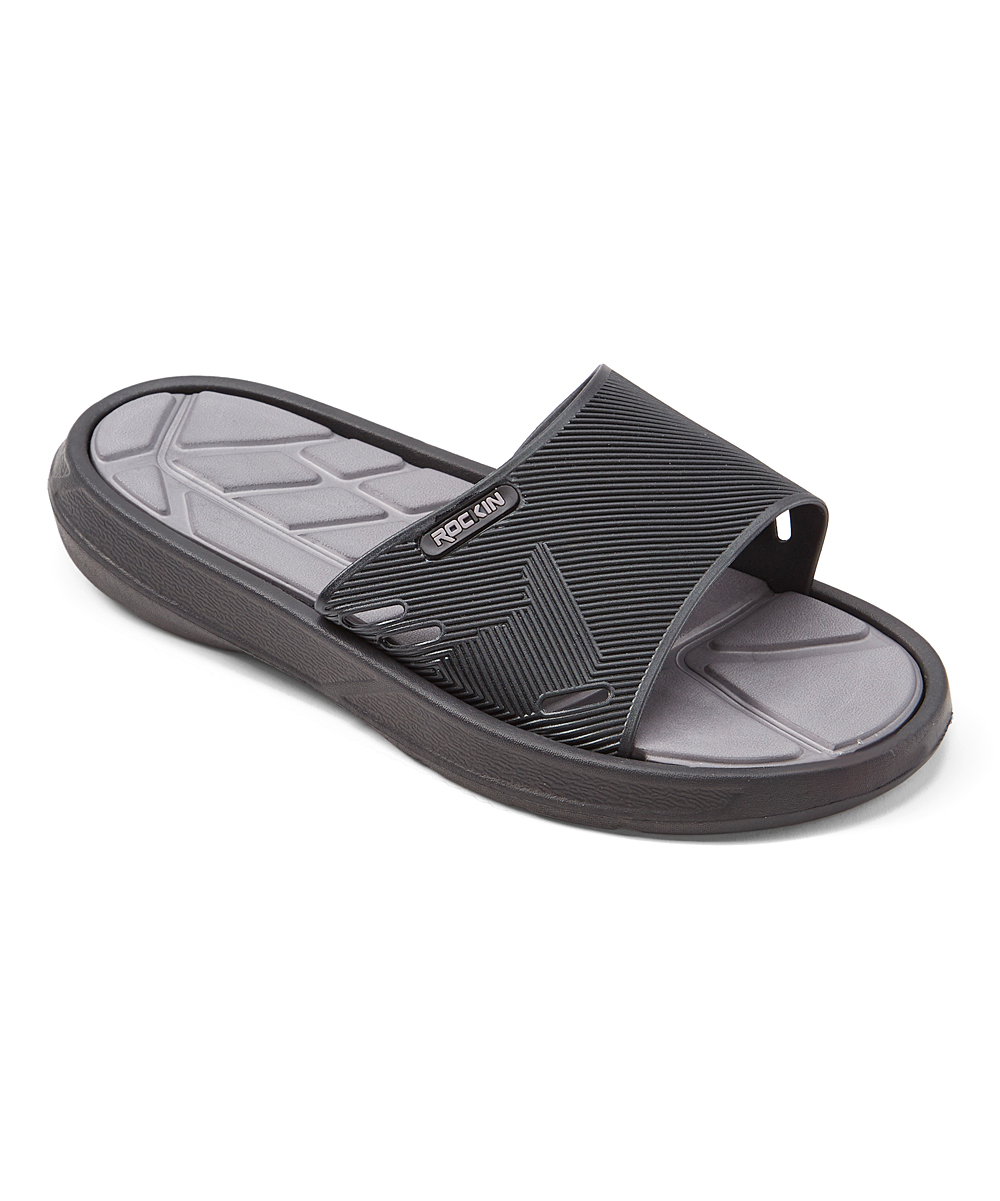Black & Gray GT Slide - Men Black & Gray GT Slide - Men. Slip on these smooth slides and adjust the strap for custom comfort. EVAImported