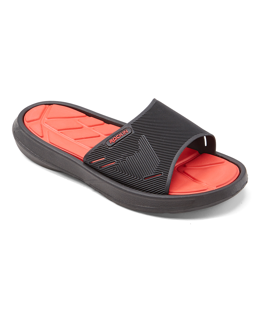 Black & Red GT Slide - Men Black & Red GT Slide - Men. Slip on these smooth slides and adjust the strap for custom comfort. EVAImported