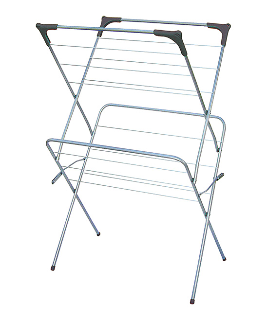 Gray Sunbeam Two-Tier Clothes Drying Rack Gray Sunbeam Two-Tier Clothes Drying Rack. This expandable clothes dryer offers plenty of space to dry damp clothing then quickly collapses down when you're done. 24.5'' W x 38'' H x 18.5'' DMetalCollapsibleImported