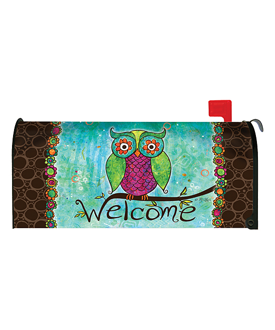 Toland Home Garden  Mailbox Covers  - Rainbow Owl Mailbox Cover