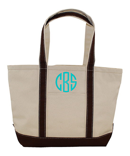 Brown, Khaki & Turquoise Personalized Tote Bag