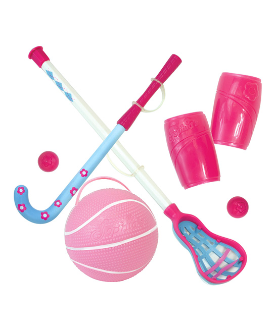 Sophia's  Doll Accessories  - Six-Piece Doll Sports Equipment Set for 18'' Doll Six-Piece Doll Sports Equipment Set for 18'' Doll. These colorful, sporty accessories are ideal for a competitive little playtime companion. Includes six pieces of sporting equipmentScaled for 18'' dollsPlastic / elasticRecommended for ages 5 years and upImported