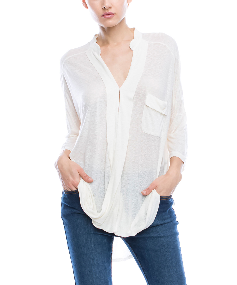 1073696361574f Mono B Ivory Silk-Blend Surplice Twist Top - Women | Zulily