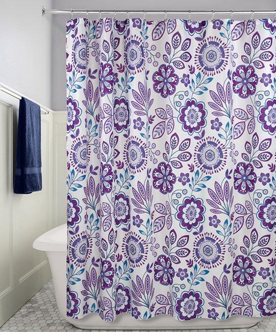 All Gone Purple Blue Luna Floral Shower Curtain