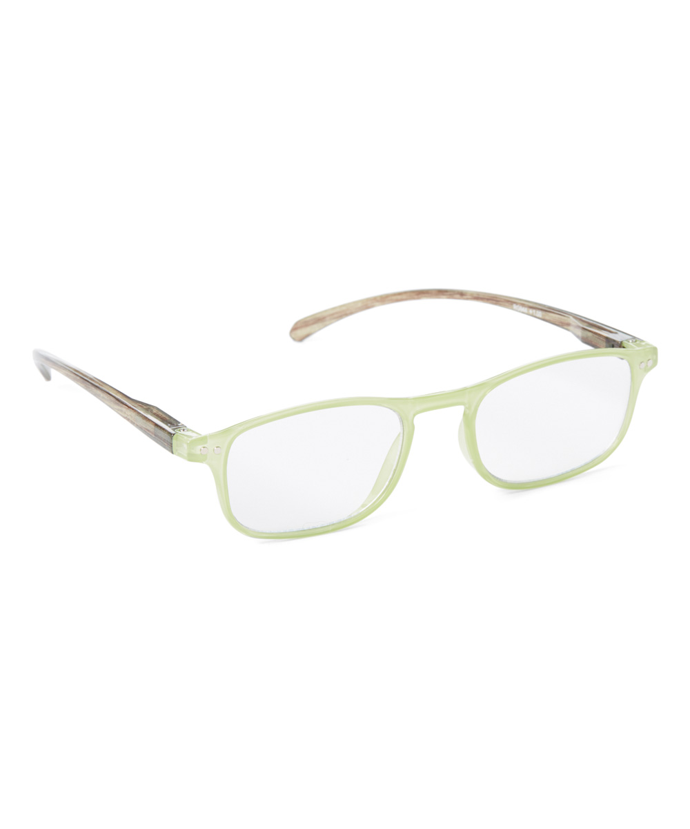 Art Wear Women's Reading Glasses Light - Green & Brown Wood-Grain Readers