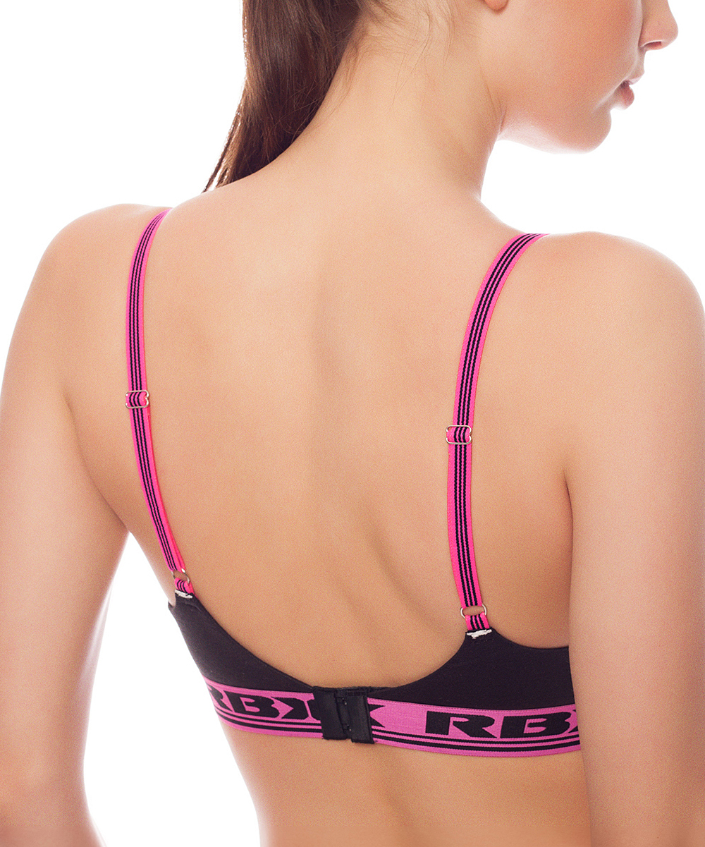 a5733b9655956 RBX Black   Pink Glo Molded Cup Wireless Cotton Sports Bra