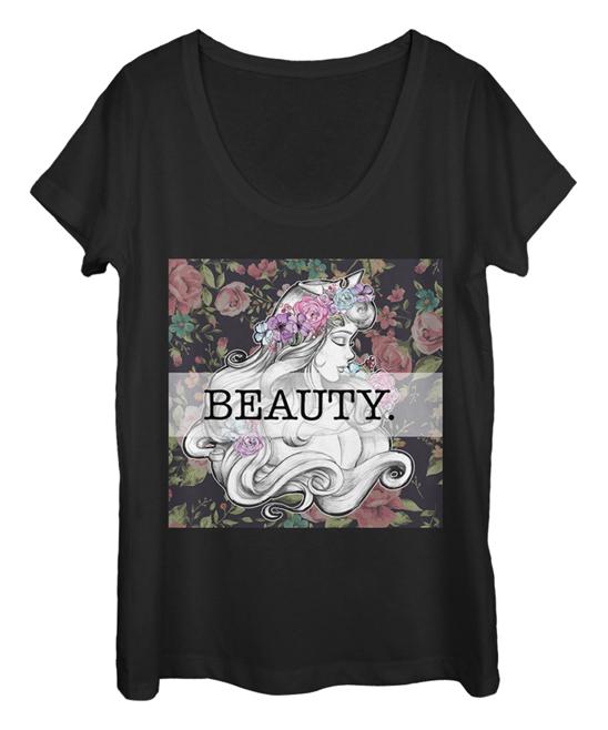 Fifth Sun Women's Tee Shirts BLACK - Sleeping Beauty Aurora 'Beauty' Scoop Neck Tee - Women & Juniors