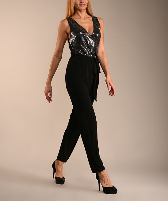 Lbisse Black Silver Color Block Metallic Jumpsuit Women Zulily