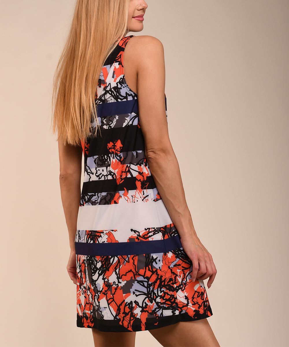 84f2b4600adb Lbisse Black & Tangelo Abstract Scoop Neck Sleeveless Swing Dress ...