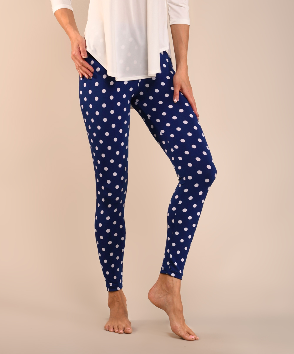 43a7d2e76c40c Lbisse Royal Blue & Ivory Polka Dot Leggings - Women & Plus | Zulily