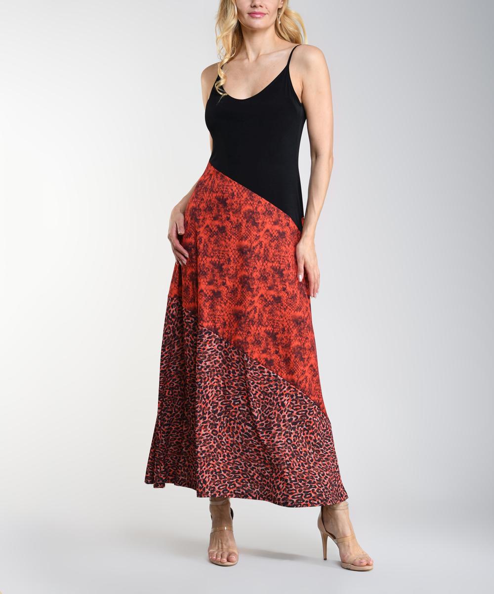 3cf5e4b0ac2 Lbisse Black & Red Leopard & Snake Print Sleeveless Maxi Dress ...