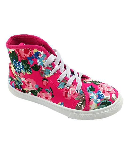 Ositos Shoes Women's Sneakers FUCHSIA - Fuchsia Floral Hi-Top Sneaker - Women