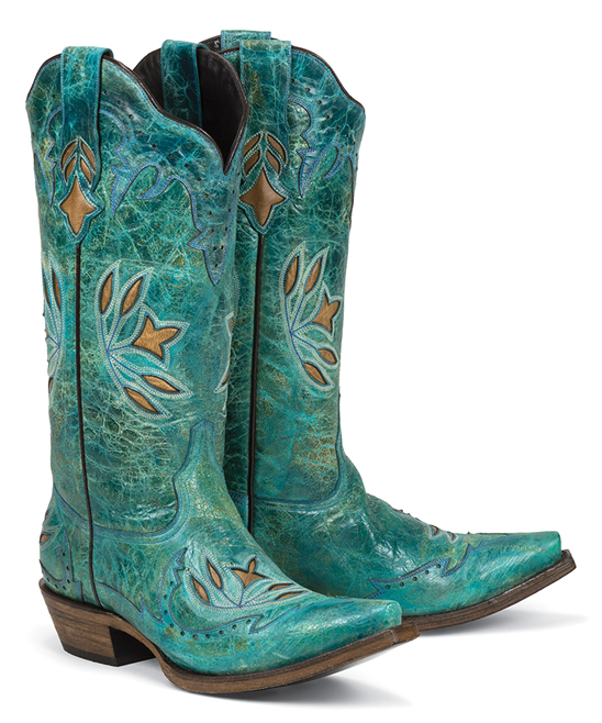 3c4a4022354 Black Star Turquoise Hidalgo Snip Toe Leather Cowboy Boot - Women