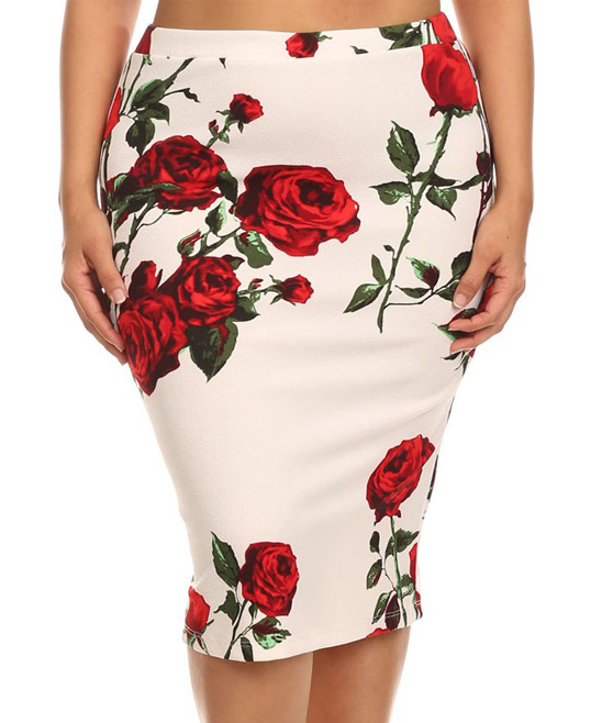 f8f73d326e9 MOA Collection White   Red Rose Pencil Skirt - Plus