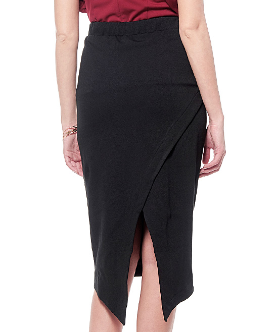a0ac670cda GRACIA Black Faux Leather Asymmetrical-Hem Pencil Skirt | Zulily