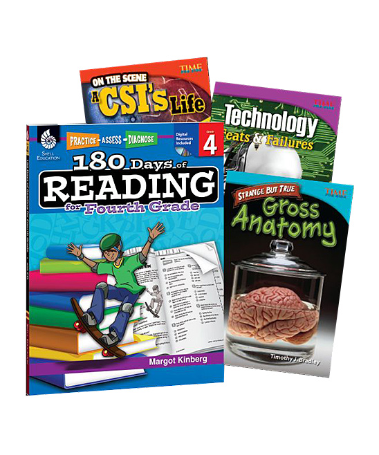 Shell Education  Educational Workbooks  - Learn-at-Home Reading: Grade 4 Workbook Bundle