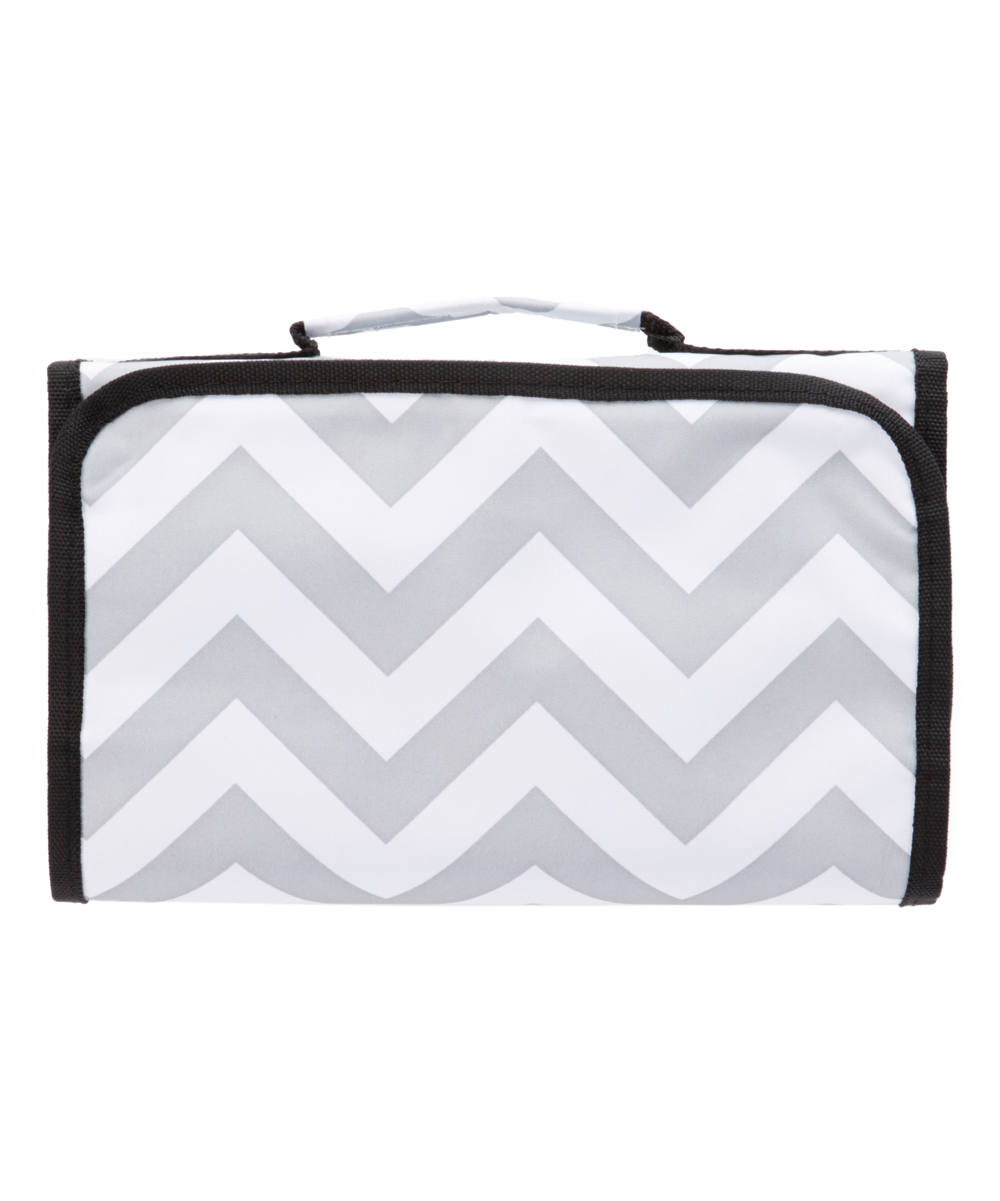 Gray & White Chevron Jewelry Roll Gray & White Chevron Jewelry Roll. Keep your jewelry organized and easily accessible with this travel-ready jewelry roll. Includes organizer with hanger hookClosed: 9'' W x 11.5'' HOpen: 11.5'' W x 25'' HMicrofiber PolyesterImported
