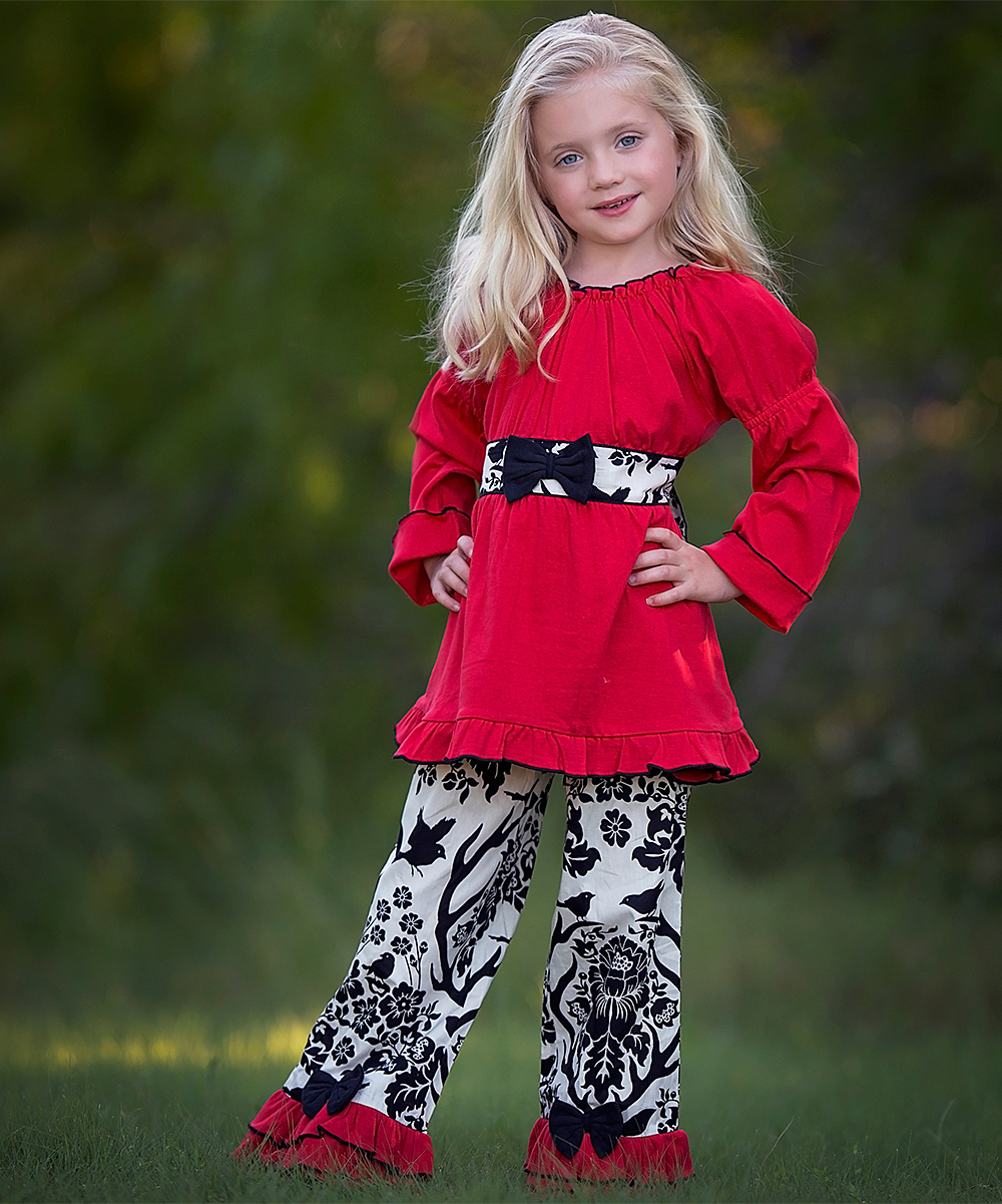 ad9699764f55 AnnLoren Red   Black Reindeer Tunic   Pants - Toddler