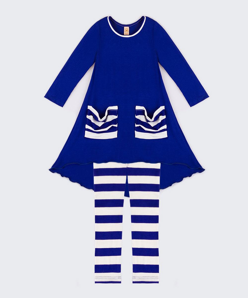 84498599afe82 ... Girls Royal Stripe Royal Blue & Black Kylie Hi-Low Top & Leggings -  Alternate