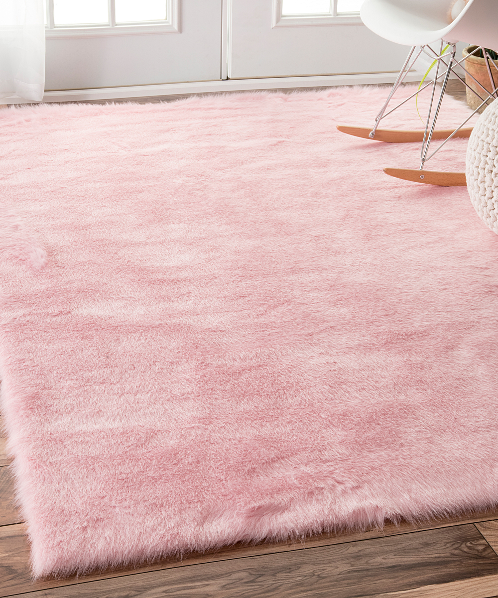 Pink Cloud Faux Fur Rug Alternate Image 2