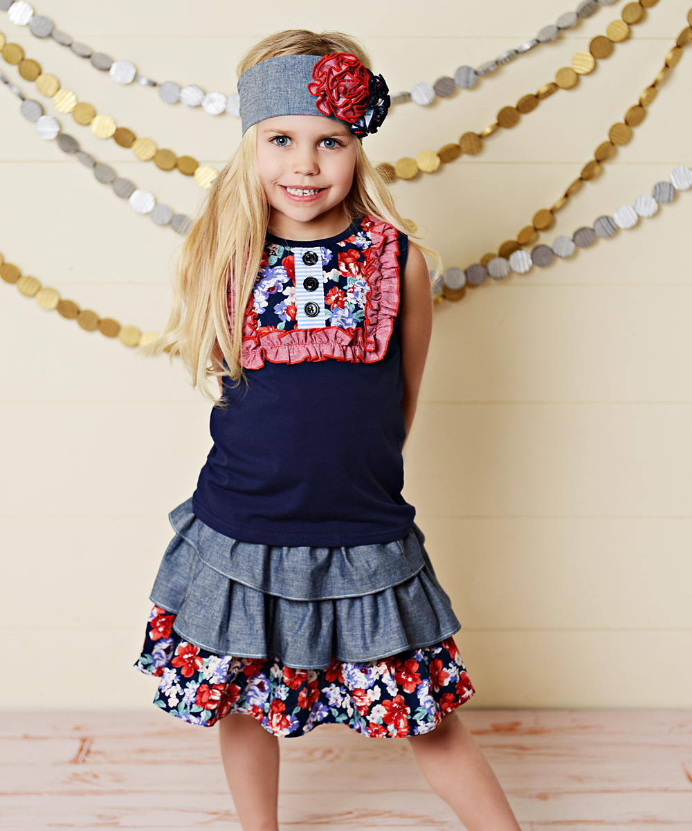 d57ae930e5a1 Oopsie Daisy Red & Blue Floral Ruffle Skirt Set - Toddler & Girls ...