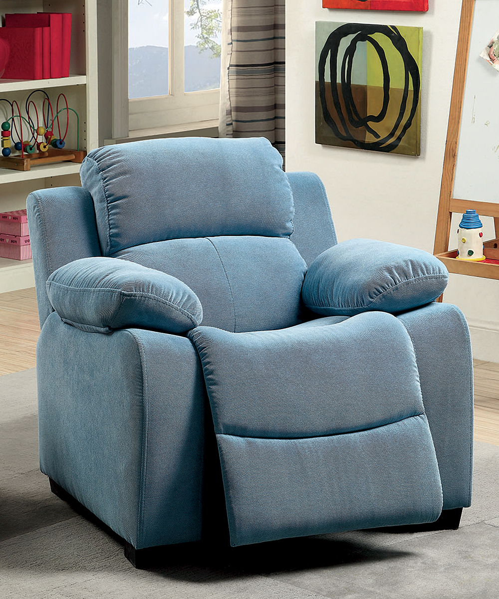 Blue Plush Padded Youth Recliner Chair