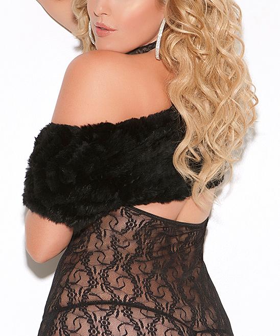 86c7438e22c Elegant Moments Black Lace Halter Open-Bust Chemise - Women   Plus ...